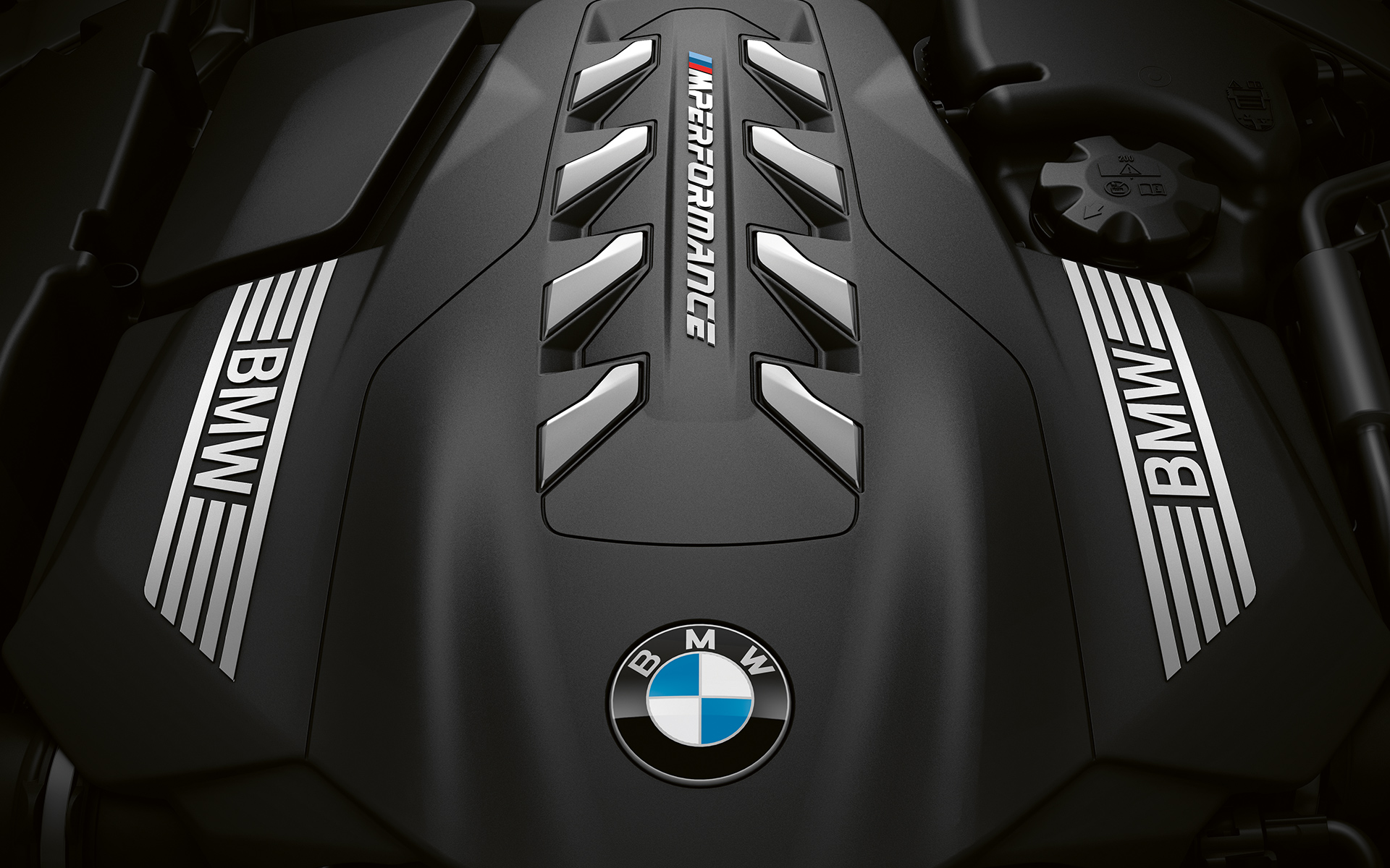Close-up of the V8 TwinTurbo petrol engine in the BMW 8 Series Coupé.